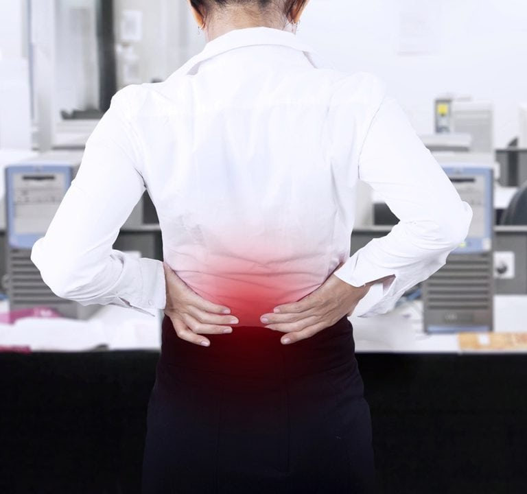 lower back pain in office